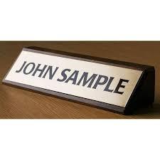 Custom Desk Name Plates by Walnut Custom Engraved Wood Wedge Desk Name Plates