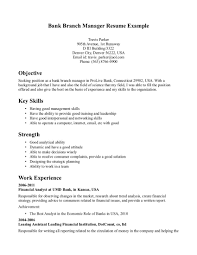 Resume Examples  Bank Branch Manager Resume Example With Career Position Objective And Key Skills In     Rufoot Resumes  Esay  and Templates