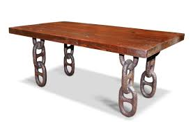 farm table top with anchor chain legs coffee table olde good things