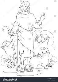 jesus good shepherd christian easter holiday stock vector