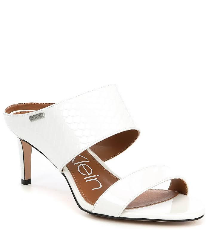 Calvin Klein Cecily Leather Open Toe Casual, Platinum White,