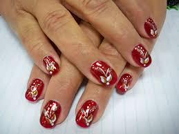 chic glossy red nail art design idea with pretty flowers motif