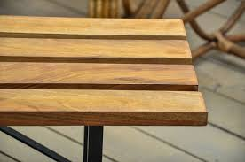 Wood Slat by Wood Slat Benches With Black Metal Bases For Sale At 1stdibs