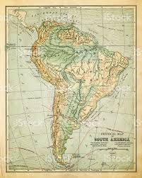 Physical Map Of South America by Old Map Of South America Stock Vector Art 184925630 Istock