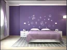 Purple Bedroom Color Schemes With Unique Wall Art  Bedroom - Beautiful bedroom color schemes