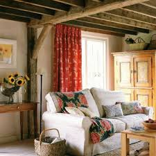 Country Living Room Curtains Country Living Room With Wooden Beams And Armoire Selecting