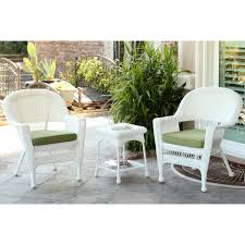 Resin Wicker Patio Furniture Sets - wicker chair and end table set with green chair cushion
