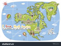 A Map Of America by Landmarks Decorate Map North America Stock Illustration 169998668