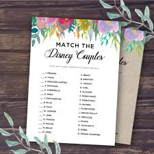 bridal shower game ideas match the disney couple disney