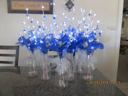 Silver Centerpieces For Table Wedding Quinceanera Party Centerpieces Silver And Royal Blue