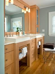 Bathroom Vanity Designs by Bathroom Brown Wooden Open Shelf Vanity With Cabinet Plus Double