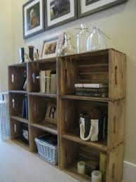 bookshelves made from crates from michaels and stained super easy