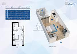 azizi aura 1 bedroom apartment type 3 floor plan