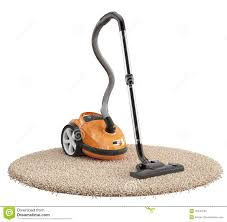 vacuum cleaner on the carpet isolated on white background stock