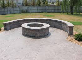 Fire Pit Pad by Natural Stone Sitting Wall With Bluestone Cap Surrounds A Fire Pit