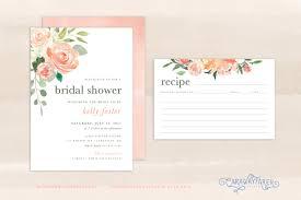 printable floral bridal shower invitation set recipe card