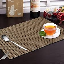 industries 6 piece dining table placemats in weaving style copper
