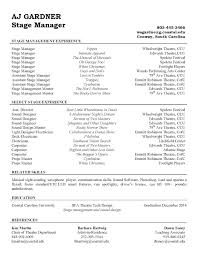 Actor Resume Commercial Stage Manager Resume Resume For Your Job Application