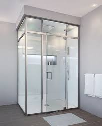 glasscraft for a contemporary bathroom with a glass shower doors