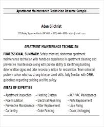 Maintenance Technician Resume Sample by Sample Maintenance Technician Resume 9 Examples In Word Pdf
