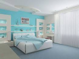 bedroom wall shelves ceiling lamps white modern bed frame blue