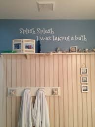 beach themed bathroom 3 4 of wall covered with bead board