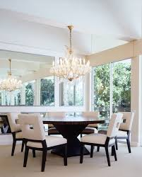 round dining table room traditional with french doors walnut