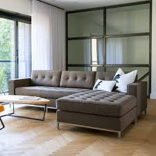 Chaise Lounge With Sofa Bed by Minimalist Living Room Design With Brown Tufted Sectional Chaise