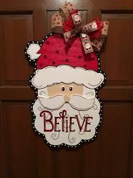 santa believe wooden door hanger signs pinterest wooden door