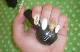 prom nails white and gold stiletto youtube