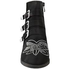 womens black leather biker boots new womens ladies vintage studded ankle boots biker low heel
