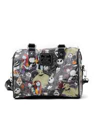 nightmare before christmas group collage faux leather cross body purse