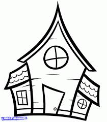 simple drawing of house how to draw a haunted house for kids step
