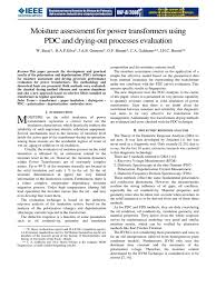 moisture assessment for power transformers using pdc and drying