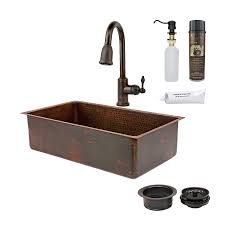 Kitchen Sink With Faucet Set Shop Premier Copper Products 33 In X 19 In Oil Rubbed Bronze
