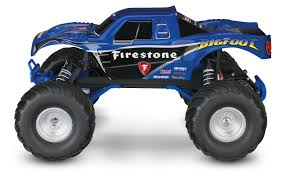 bigfoot summit monster truck traxxas bigfoot firestone 1 10 scale 2wd monster truck blue