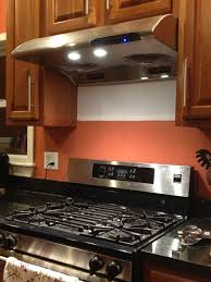 Kitchen Hood Fans Appliances Backsplash Tiles Blue Cabinetry And Granite