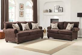 Chocolate Living Room Furniture by Homelegance Elena Sofa Set Chocolate Chenille U9729 3
