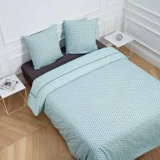 chemin de lit en lin parure de lit windmill bleu madura