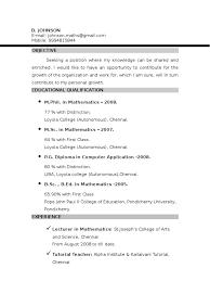 resumes format for freshers johnson resume mathematics