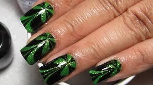 sparkly green u0026 black st patrick u0027s day water marble nail art