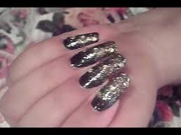 ombre gradient black u0026 gold nail art design tutorial video nail