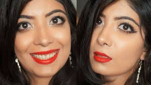 glowing skin neutral eyes clic red lips makeup tutorial for indian skin you