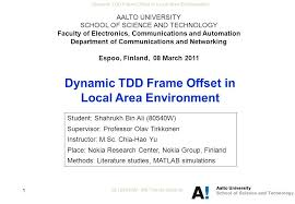 Dynamic TDD Frame Offset in Local Area Environment ALI      W   MS     SlidePlayer