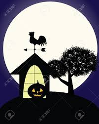 illustration of dark scary halloween night with haunted house