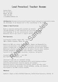 Preschool Resume Template Resume Child Care Teacher Resume