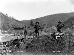 Miners near a sluice box on No    from mouth of Gold Bottom Creek  Date        Yukon Archives  Adams  amp  Larkin fonds