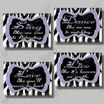Purple Zebra Print Dance Sing Live Love Quote by collagebycollins