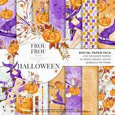 repeatable halloween background halloween scrapbook halloween paper pack autum fall background