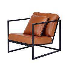 modern designer stanley armchair black metal frame leather seating
